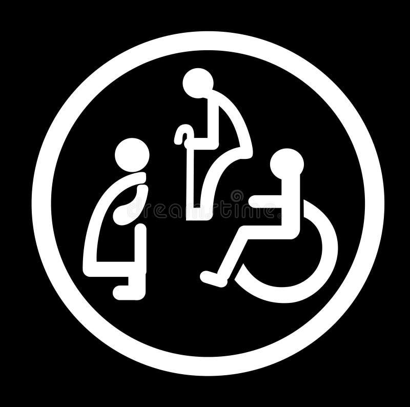 Łazienka dla persons z kalectwami szyldowa niepełnosprawna toaleta ilustracji