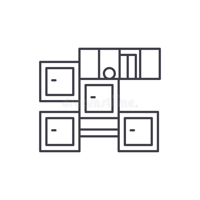 Łazienka meble linii ikony pojęcie Łazienki meblarska wektorowa liniowa ilustracja, symbol, znak royalty ilustracja