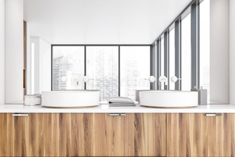 Łazienka panoramiczna biała z zlewem, zamknij ilustracja wektor