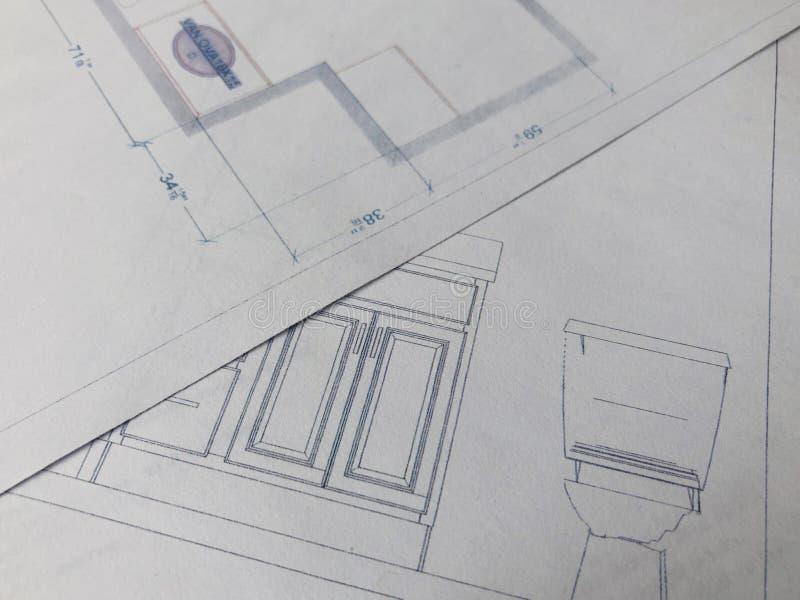 Łazienka przemodelowywa plany obrazy stock