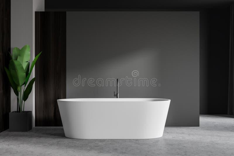 Łazienka szara i drewniana z wanną i rośliną royalty ilustracja