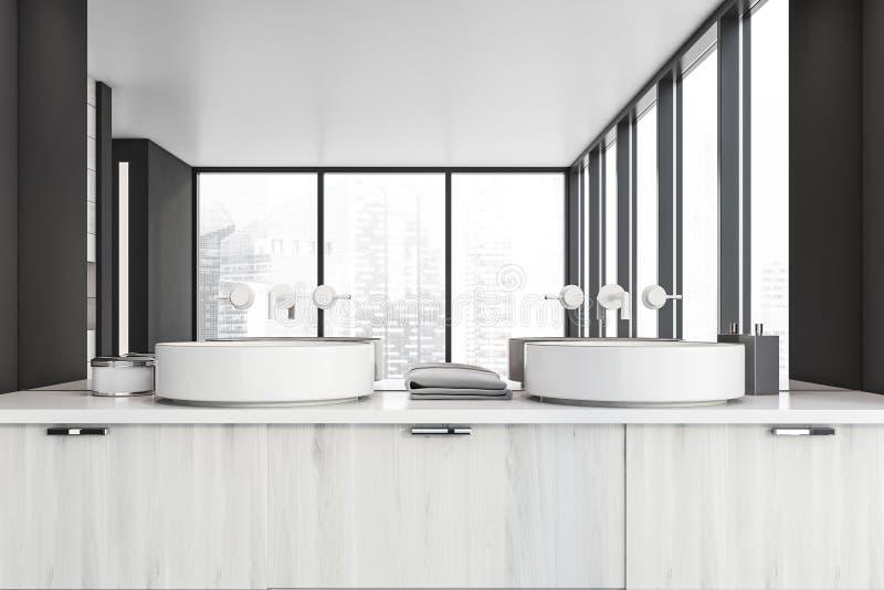 Łazienka szara panoramiczna z zlewem, zamknij ilustracja wektor