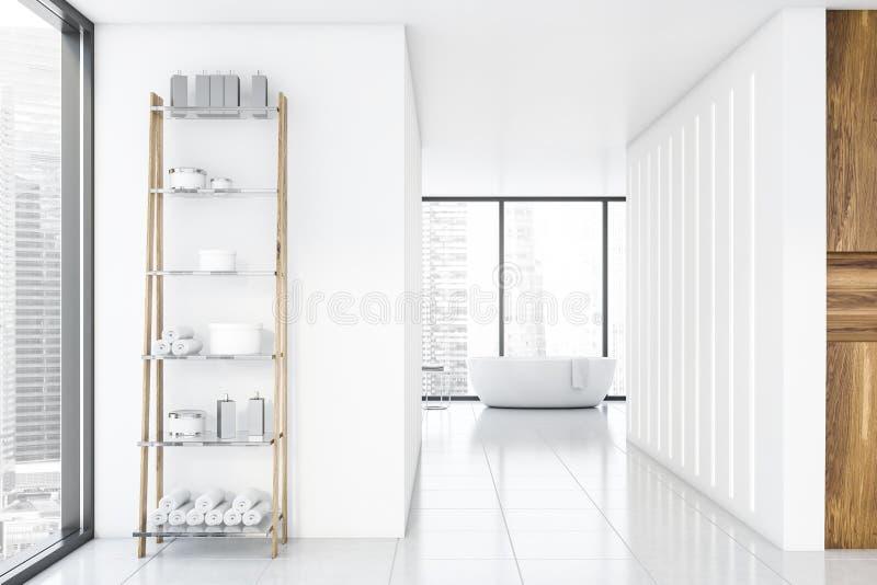 Łazienka, wanna i półki, luksusowa, biała i drewniana ilustracji