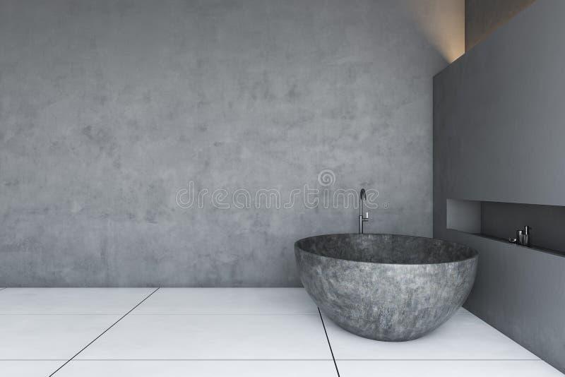 Łazienka z betonowym stropem z kostki kamiennej ilustracji