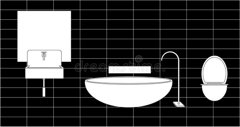 Łazienka zlew, lustro ilustracji