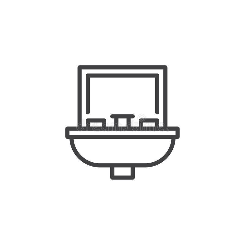 Łazienka zlew z lustrzaną kontur ikoną royalty ilustracja