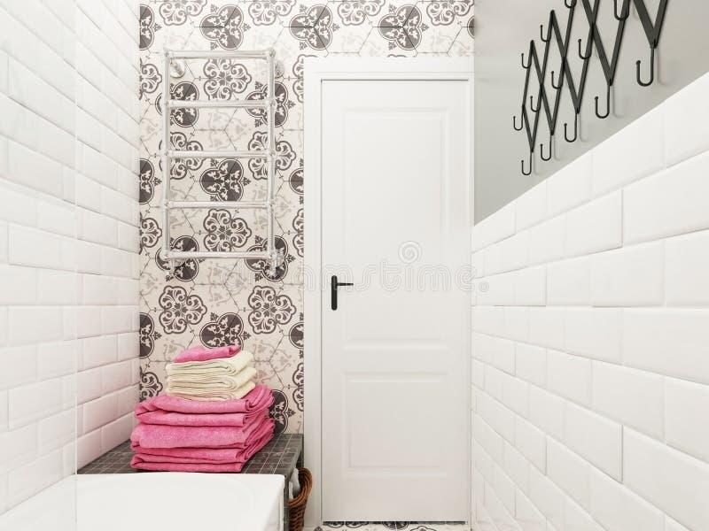 łazienki pucharu wnętrza ręcznik zdjęcia royalty free