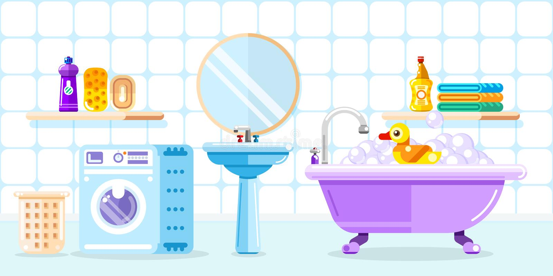Łazienki wnętrze, wektorowa mieszkanie stylu ilustracja Dziecko prysznic zabawki, meble, pralka ilustracja wektor