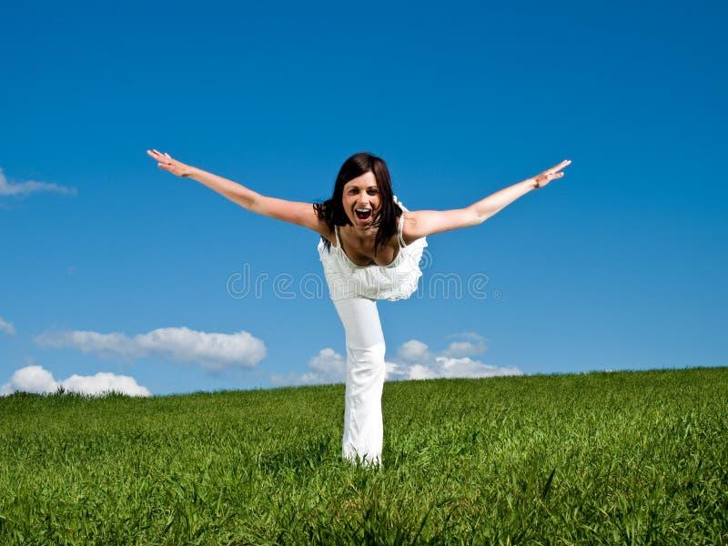 Download Łgarska kobieta na łące obraz stock. Obraz złożonej z noga - 28955803