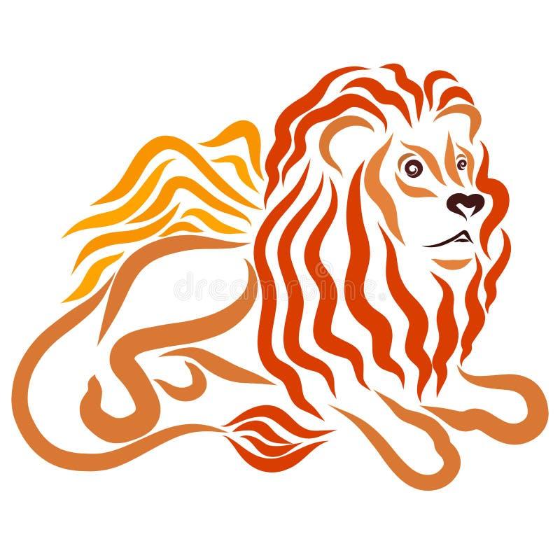 Łgarski lew z luksusową falistą grzywą, skrzydłami i nosem w formie serca, ilustracji