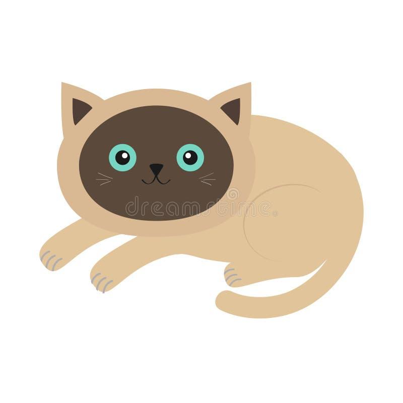 Łgarski siamese kot w płaskim projekta stylu Śliczny postać z kreskówki Szczęśliwa figlarka z niebieskimi oczami Biały tło odosob ilustracji