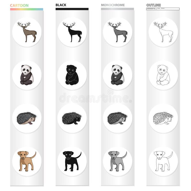 Łoś, rogi, panda i inna sieci ikona w kreskówka stylu, aAimal, domowy, dziki, ikony w ustalonej kolekci ilustracji
