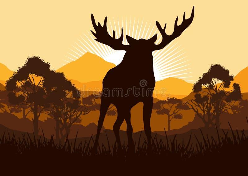 Łoś w dzikiej natura krajobrazu ilustraci ilustracji