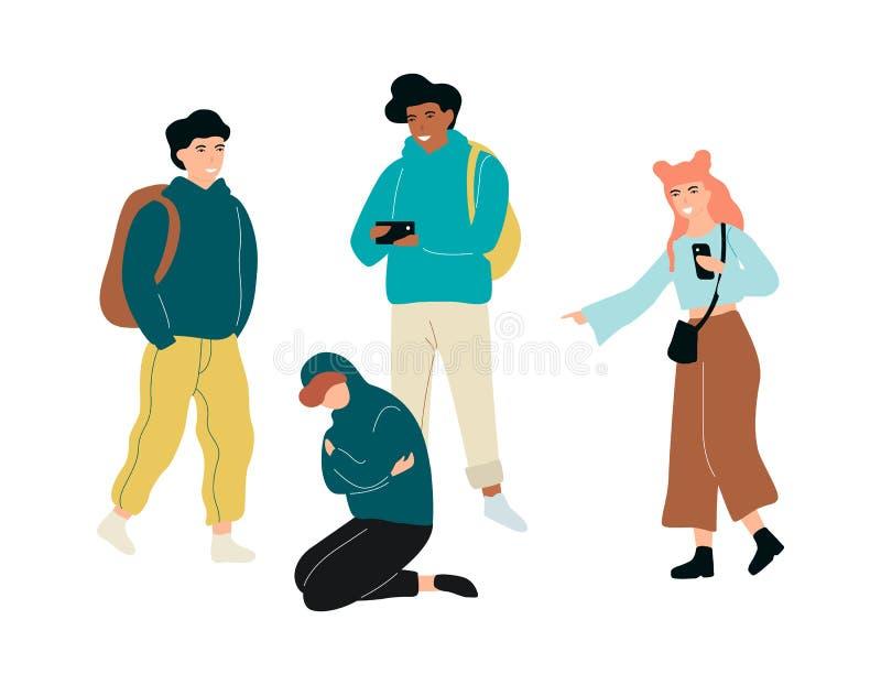 Łobuz w szkole Nastoletnia nadużycie chłopiec, agresywny zachowanie ilustracji