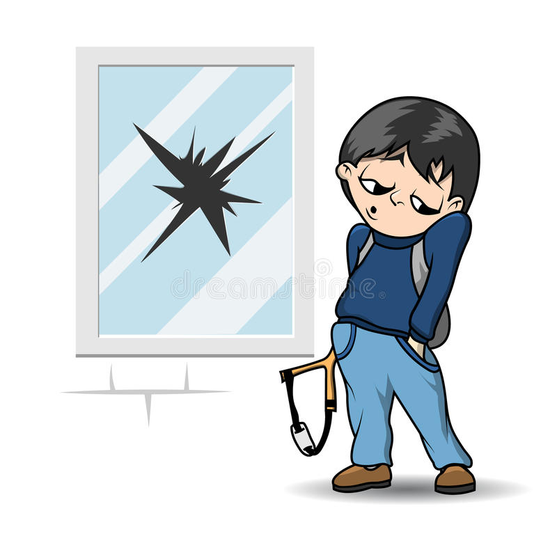 Łobuz z slingshot ilustracja wektor