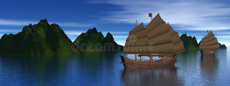 łodzi dżonka Oriental royalty ilustracja