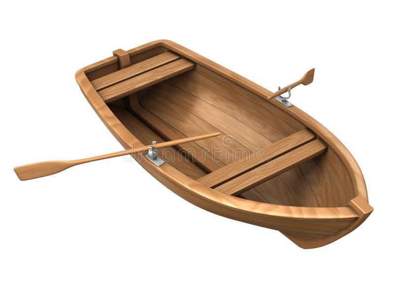 łodzi drewno odosobniony biały obraz stock