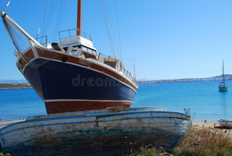łodzi Greece wyspy paros fotografia stock