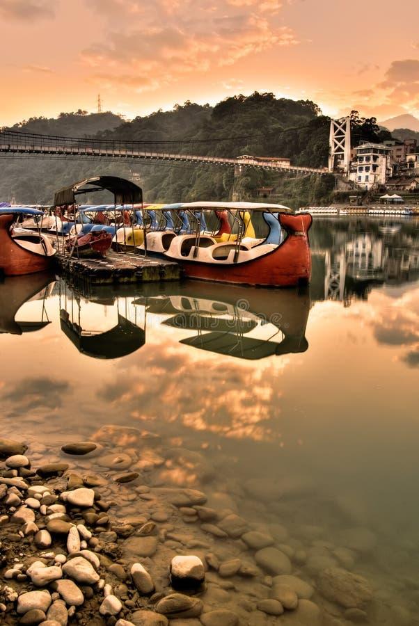 łodzi koloru krajobraz obrazy royalty free