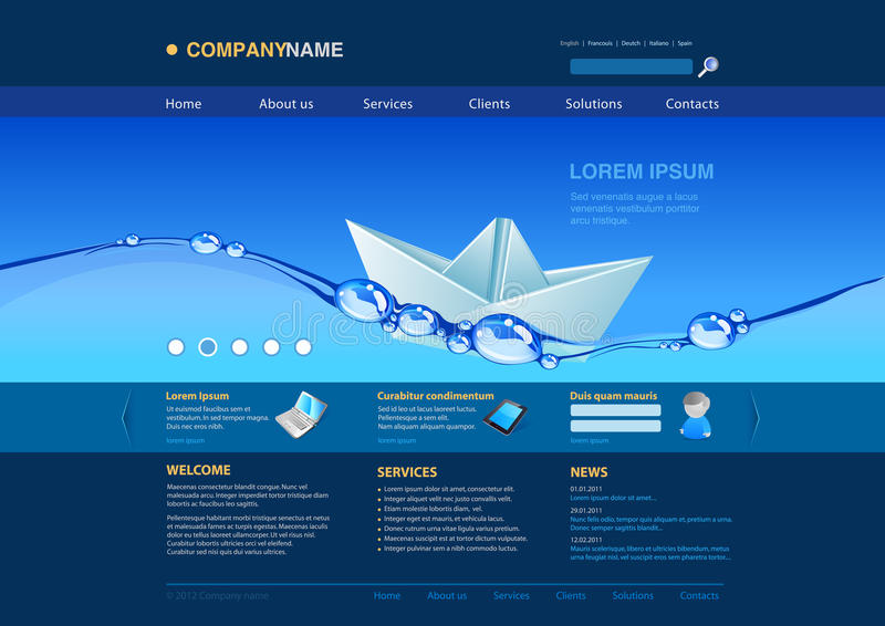 łodzi papierowa szablonu wody strona internetowa royalty ilustracja