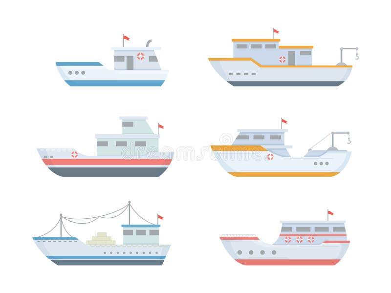 Łodzi rybackich ustalone kolekcje z różnorodnym rozmiarem i kształtem z nowożytnym mieszkaniem projektują i barwią - wektor ilustracji