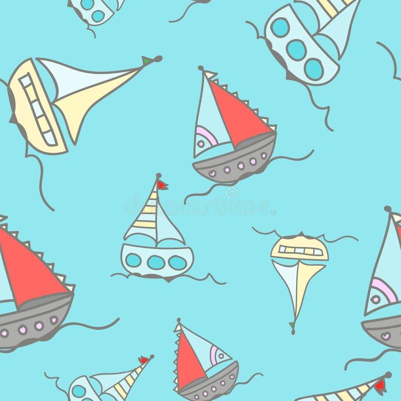 Łodzie żegluje w oceanie ilustracja wektor