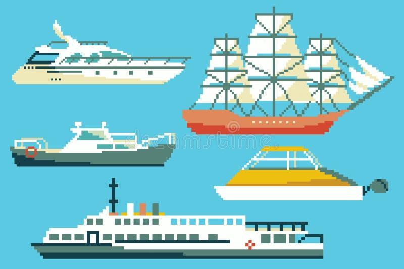 Łodzie i statki w 8 kawałków piksla sztuki stylu royalty ilustracja