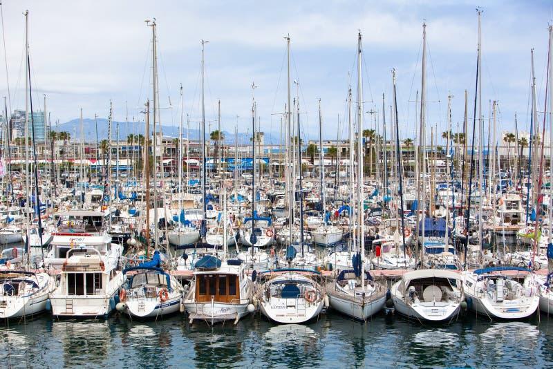 Łodzie morskie w Barcelona obrazy royalty free