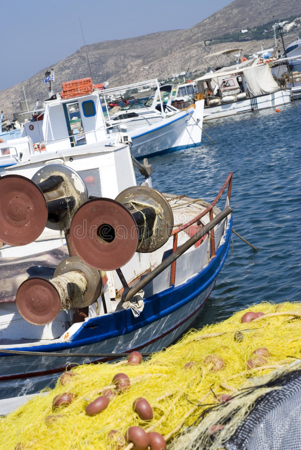 łodzie poławiające wyspy greckie obraz stock