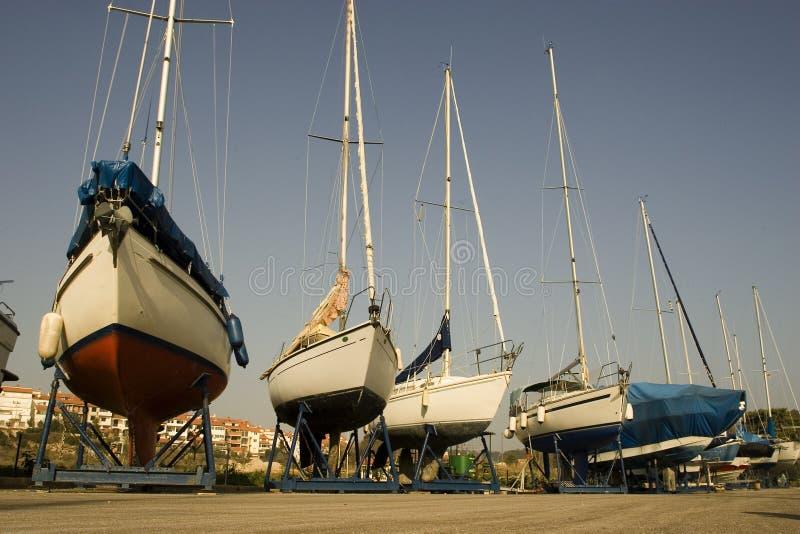 łodzie suszone fotografia stock