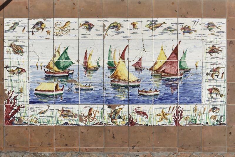 łodzie target1090_1_ żeglowanie płytki obraz stock