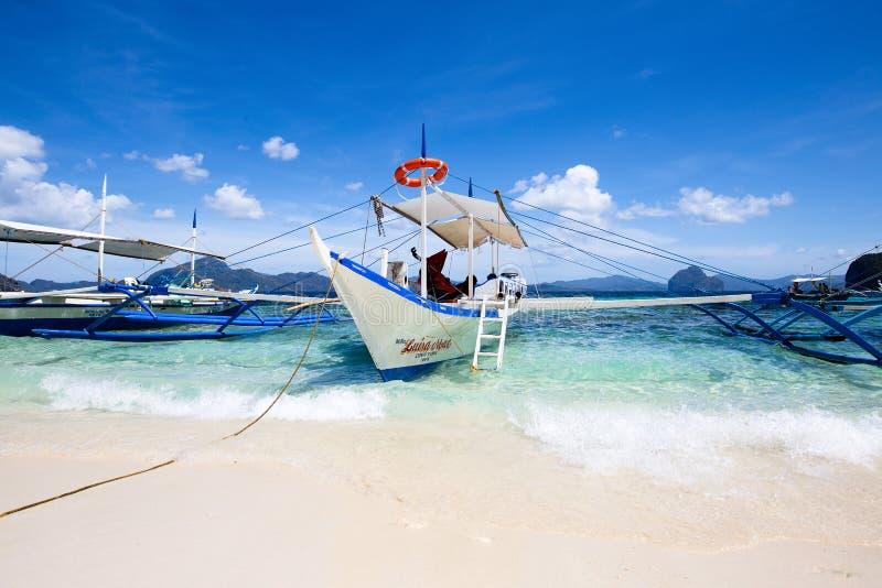 Łodzie w El Nido, Filipiny obraz stock