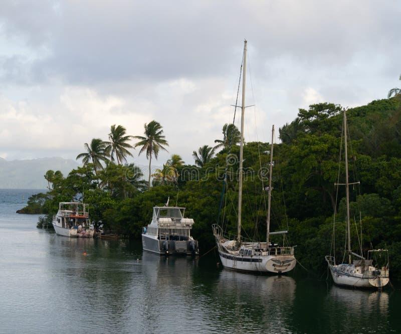 Łodzie w Fiji obrazy royalty free