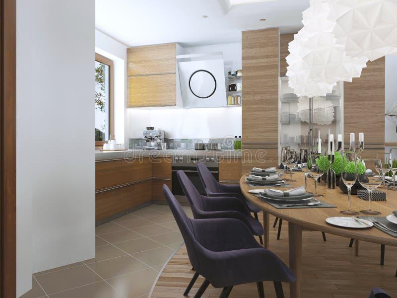 Łomotać kuchennego projekt w nowożytnym stylu z łomota stołem i zdjęcie stock