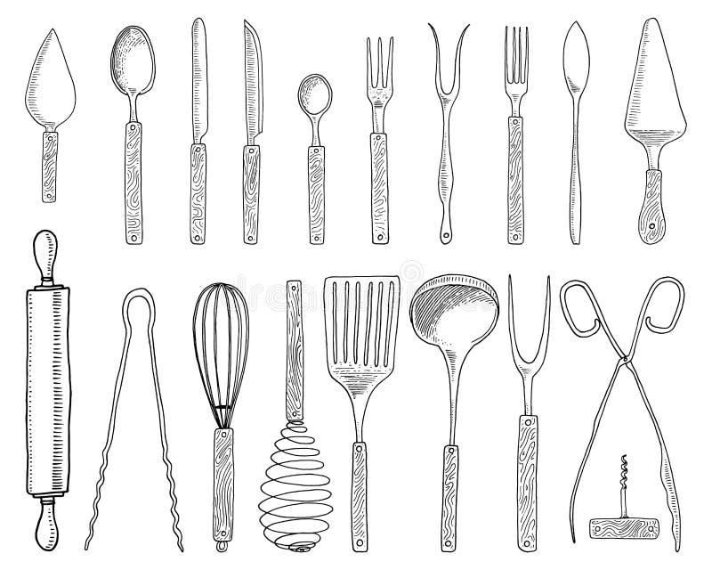 Łomotać lub przekąska rozwidlamy dla ostryg, lody łyżka i nóż dla, deseru, masło lub pieczenie kuchenni naczynia, gotuje royalty ilustracja