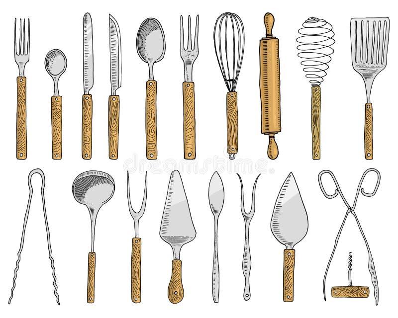 Łomotać lub przekąska rozwidlamy dla ostryg, lody łyżka i nóż dla, deseru, masło lub pieczenie kuchenni naczynia, gotuje ilustracja wektor