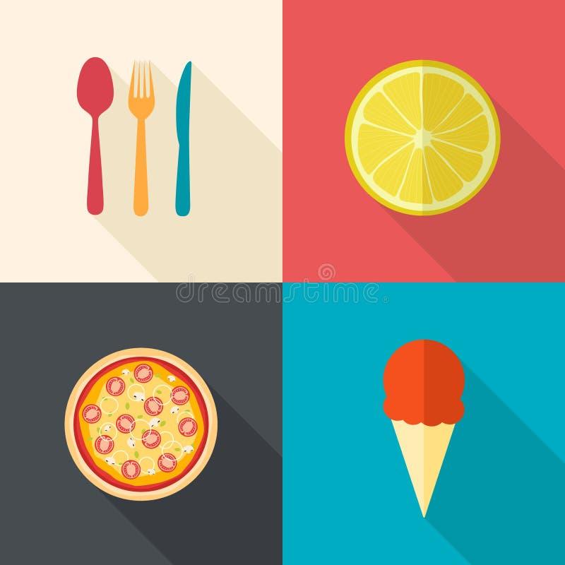 Łomotać rzeczy i jedzenie ikony ilustracji