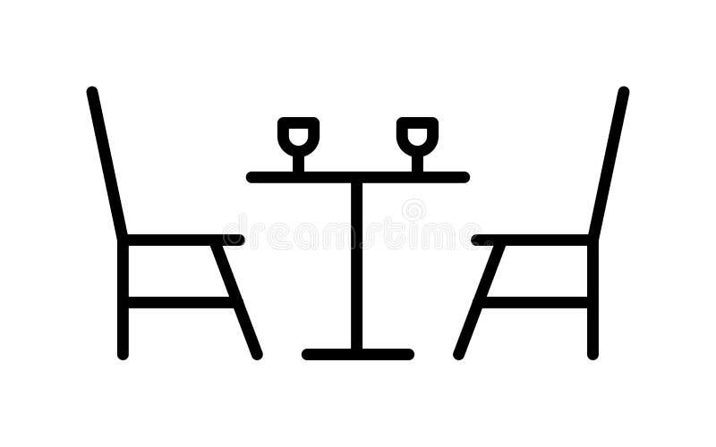 Łomotać stołowego wina szkła linii ikonę royalty ilustracja