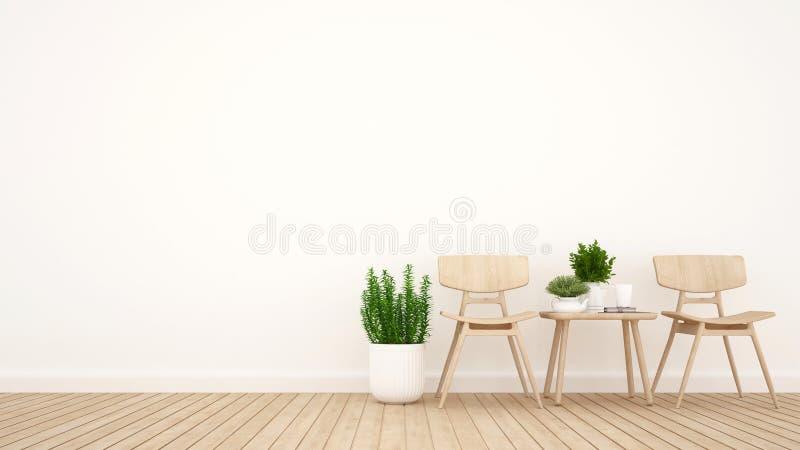 Łomotający teren i biblioteka teren w żywym pokoju lub sklepie z kawą - 3D rendering ilustracji