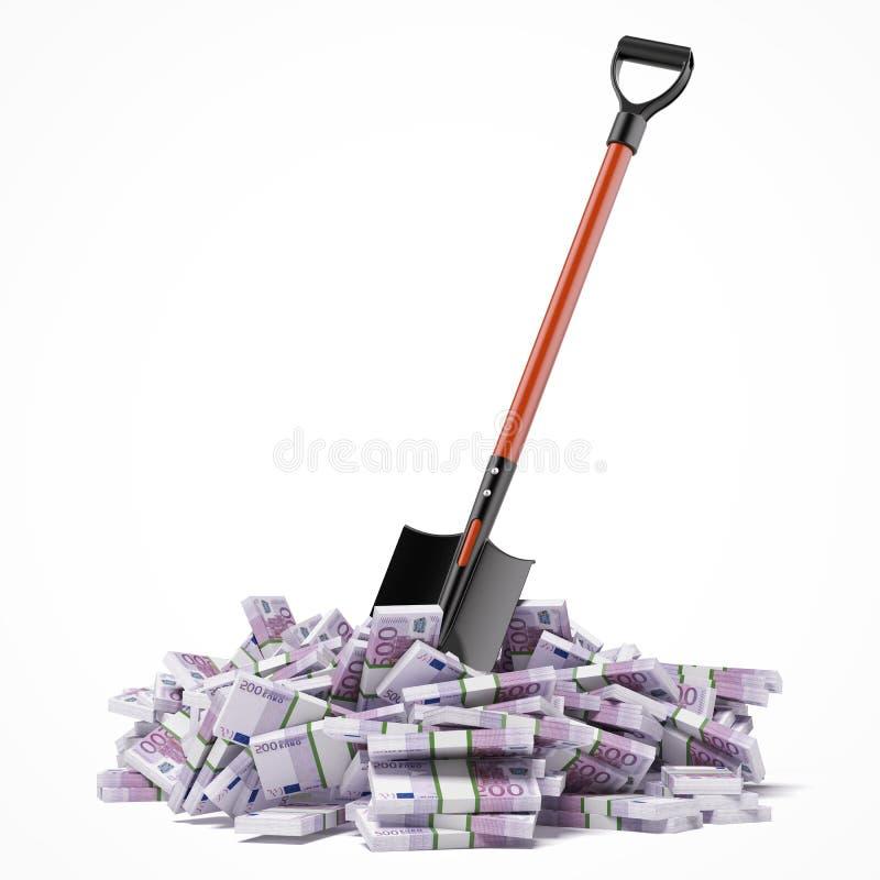 Łopata w górę euro rachunków ilustracja wektor