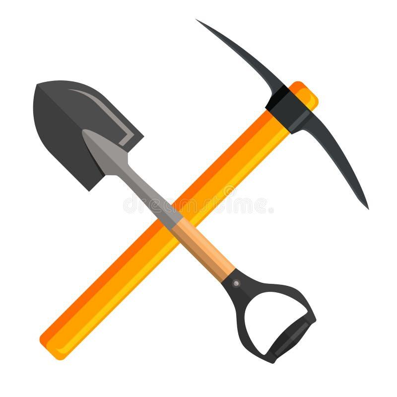 Łopaty i oskarda narzędzia, royalty ilustracja