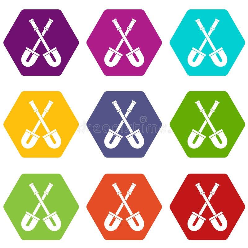 Łopaty ikony koloru ustalony sześciobok royalty ilustracja