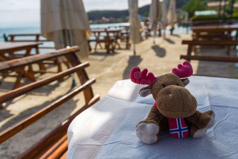 Łosia amerykańskiego mokietu zabawka z norweg flaga na stole obrazy royalty free