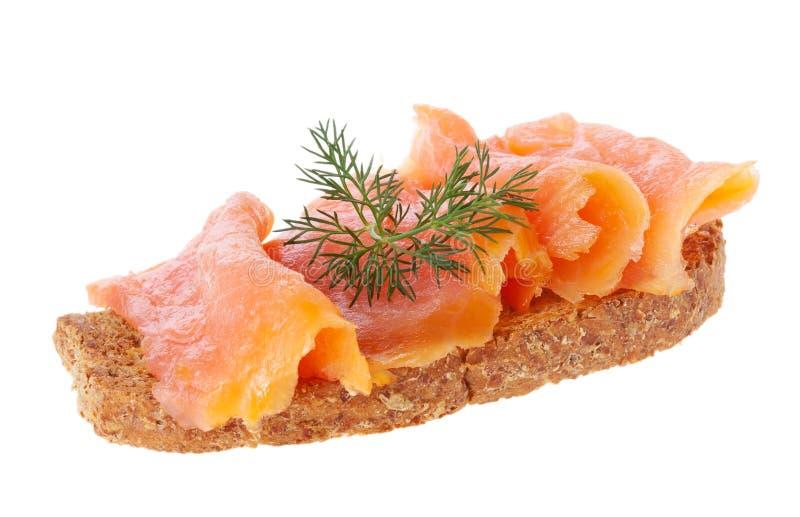 Łosoś na chlebie obraz stock
