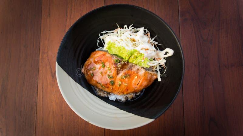 Download ŁOSOŚ TERIYAKI RICE, JAPOŃSKI Jedzenie Zdjęcie Stock - Obraz złożonej z posiłek, ryż: 53792956