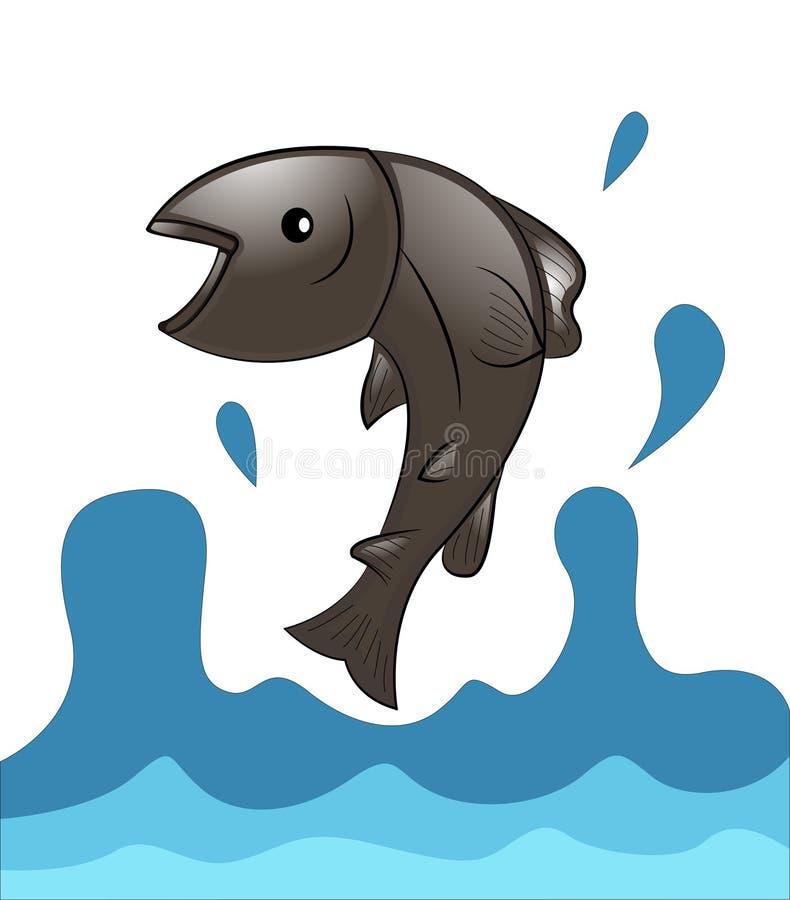 Łososia rybi doskakiwanie od wody ilustracji
