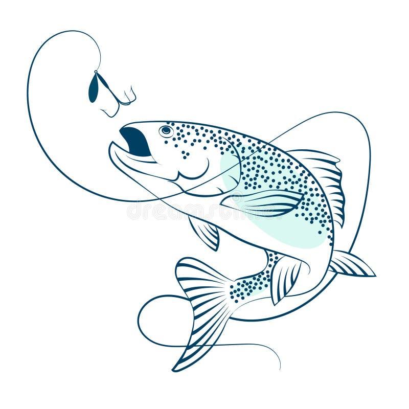 Łososiowy doskakiwanie dla popasu ilustracja wektor