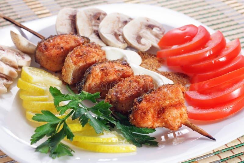 Łososiowy kebab obraz stock