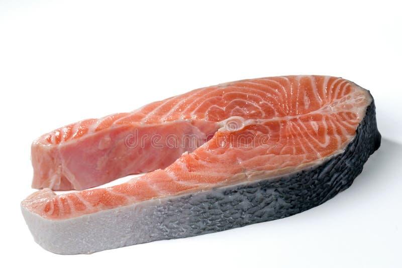Łososiowy stek odizolowywający na białym tle fotografia stock