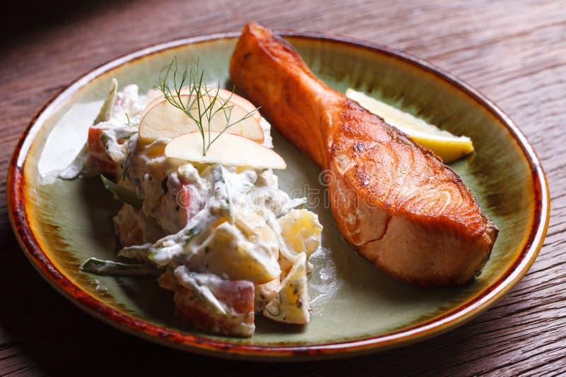 Download Łososiowy Stek Z Owocową Sałatką Obraz Stock - Obraz złożonej z apetyczny, żywienioniowy: 53793113
